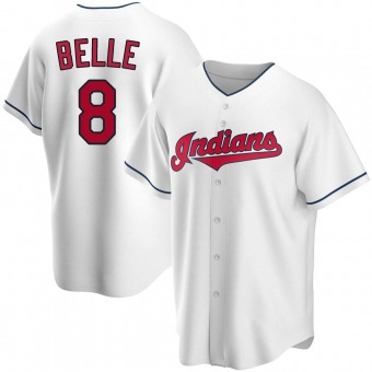 Replica Cleveland Indians Albert Belle Home Jersey - White
