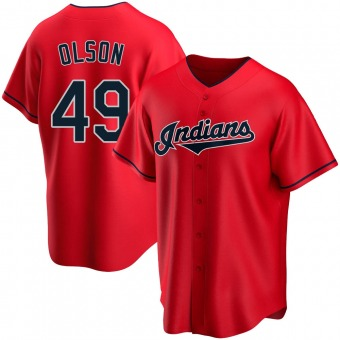 Replica Cleveland Indians Tyler Olson Alternate Jersey - Red