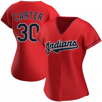 Women's Authentic Cleveland Indians Joe Carter Alternate Jersey - Red