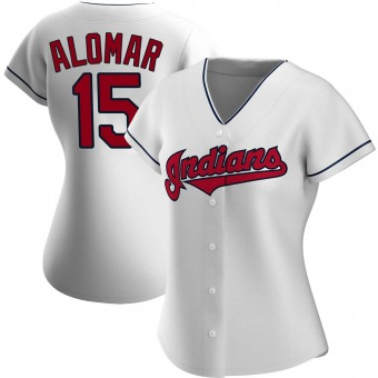 Women's Authentic Cleveland Indians Sandy Alomar Home Jersey - White