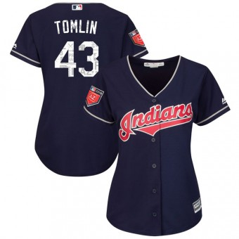 Women's Authentic Cleveland Indians Josh Tomlin Majestic Cool Base 2018 Spring Training Jersey - Navy