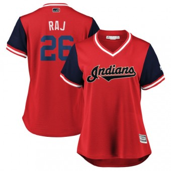 "Women's Replica Cleveland Indians Rajai Davis Majestic ""RAJ"" /Navy 2018 Players' Weekend Cool Base Jersey - Red"