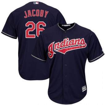 Youth Replica Cleveland Indians Brook Jacoby Majestic Cool Base Alternate Jersey - Navy