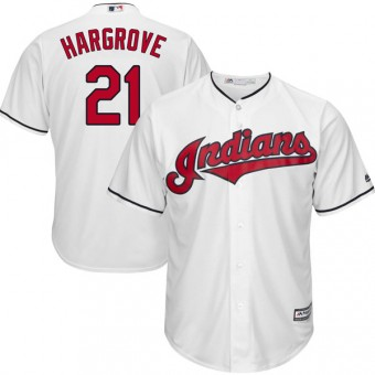 Youth Replica Cleveland Indians Mike Hargrove Majestic Cool Base Home Jersey - White